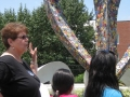 Barb Ziegler explaining Butterfly Project to Shalom Park Freedom School Scholars